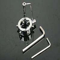Ayarlanabilir Skrotum halka topu ile paslanmaz çelik üretral ses sedye metal penis cock ring erkek iffet cihazı sey oyuncaklar