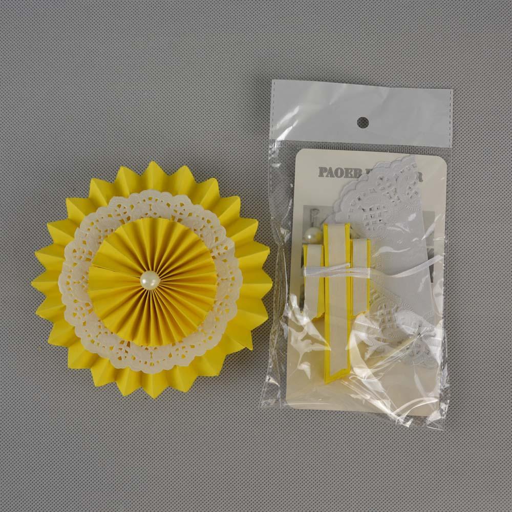 Kuning Set Jaringan Kipas Kertas Untuk Dekorasi Pesta Pernikahan Baby Shower Menggantung Kerajinan Anak Ulang Tahun Di Partai