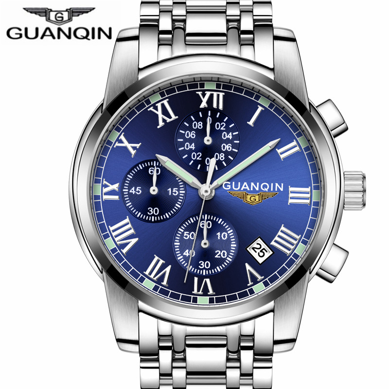 relogio masculino GUANQIN Mens Watches Top Brand Luxury Fashion Business Clock Men Sport Stainless Steel Waterproof Quartz Watch xinge top brand luxury leather strap military watches male sport clock business 2017 quartz men fashion wrist watches xg1080