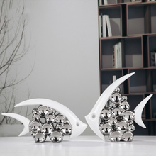 Bouble Couple Kiss Fish Vase Modern Ceramic Furnishing Articles For Living Room Home Decoration Silver Bubble