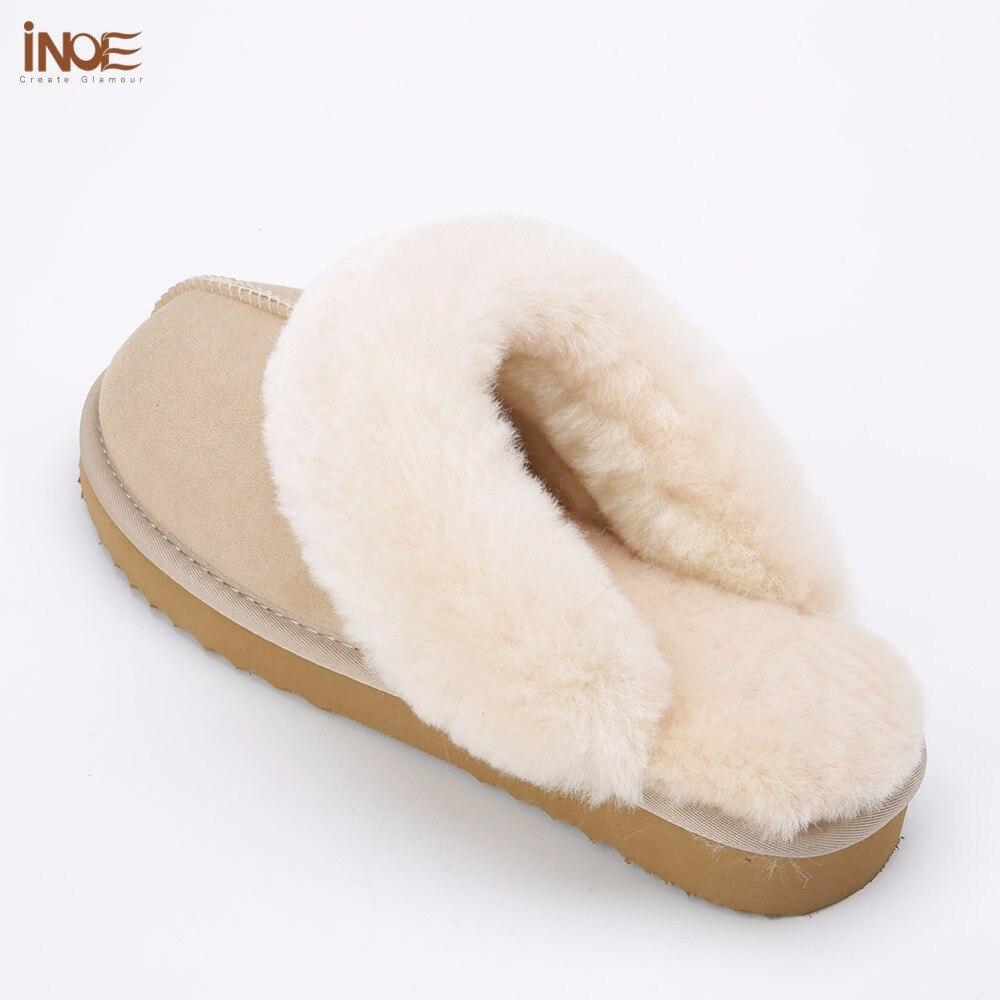 INOE classic mujer piel de oveja real Piel de lana forrado zapatillas de invierno zapatos para el hogar babuino en Casa Alta Calidad 35  44-in Zapatillas from zapatos    2