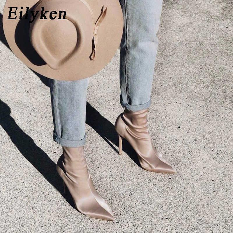 Eilyken 2019 Tecido Stretch Mid-Calf Mulheres Botas Moda Dedo Apontado Stiletto Sapatos De Salto Alto Sexy Botas de Inverno Tamanho 35 -40