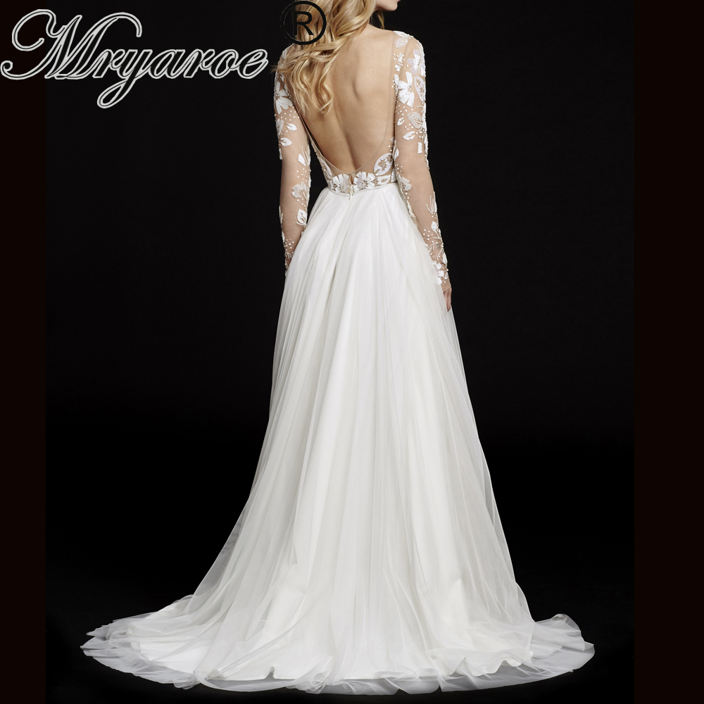 Mryarce Exclusive Lace Beading Open Back Plus size Wedding Dress Long Sleeve Scoop Tulle A Line