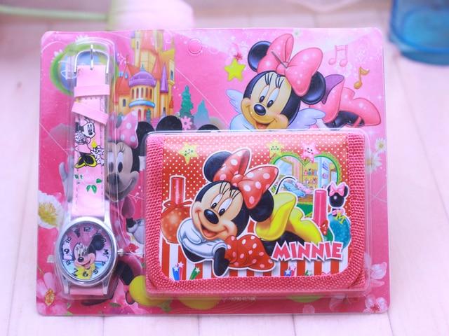 2018 New Children Cartoon Wallet Watch Set Minnie Watches Students Birthday Gift