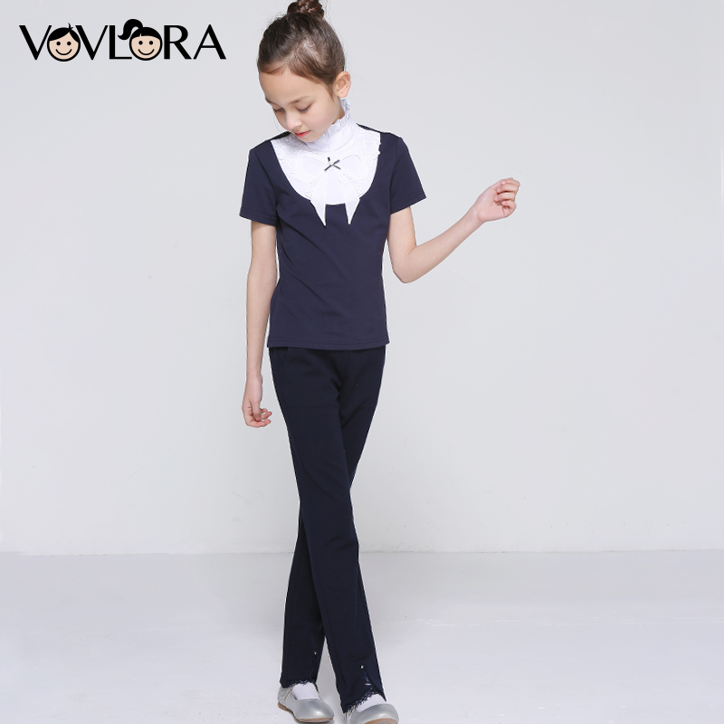 Girls School Pants Pencil Skinny Ankle Length Kids Trousers Elastic Waist Lace Mid Summer 2018 Size 7 8 9 10 11 12 13 14 Years girls jeans kids denim pants pencil cotton khaki camouflage mid waist casual children jeans for girls size 9 10 11 12 13 14 year