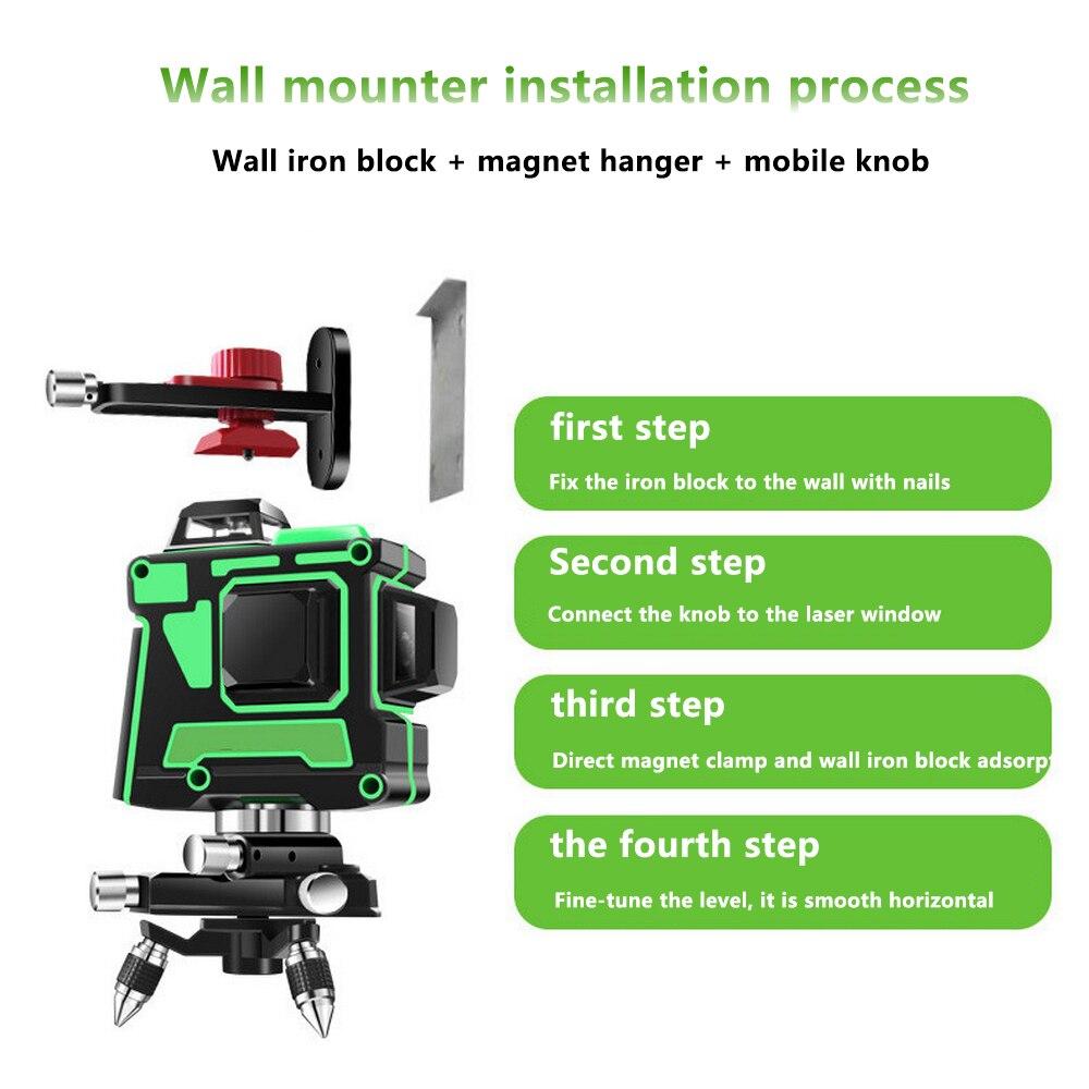 3D 12 Linien Green Laser Level mit Wand Halterung 360 Grad Einstellen Basis Laser Strahl Linie Horizontale Vertikale Kreuz Laser linien - 5