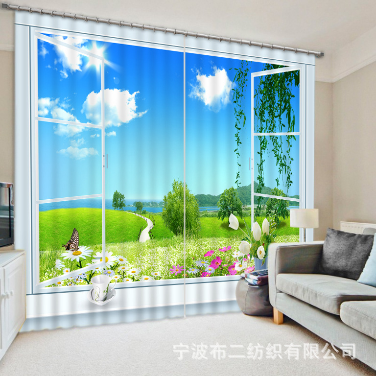 Home Landscape Scenery Beauty Digital Photo Printing Blackout 3d Curtains For Living Room Bedding Room Hotel Drapes Cortinas Matching In Colour