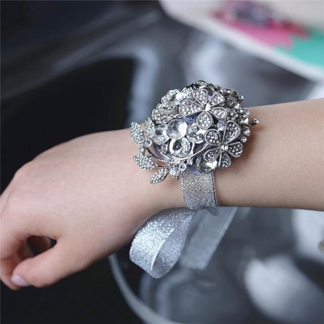 Artificial Rose Wrist Corsage Bracelet Silk Flower Bridesmaid Hand Flowers With Wedding Party Decoration 6c0219