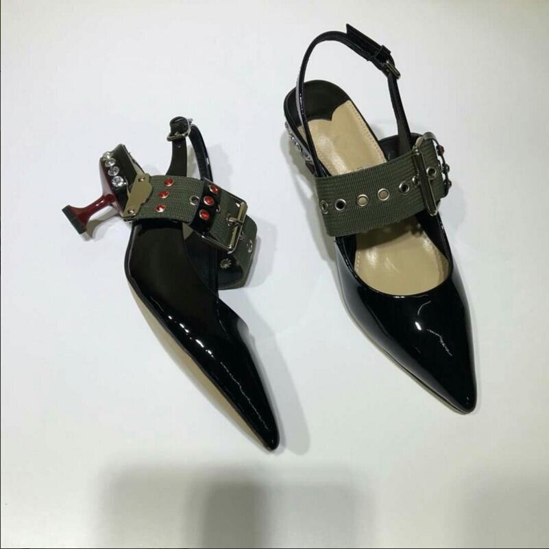 Pompes Mary Bout Lady Mariage Strass Noir Date Profonde Femmes À Cuir Talons Chaussures De Peu rouge Bouche Janes Pointu Hauts Verni a1qB0ZOw