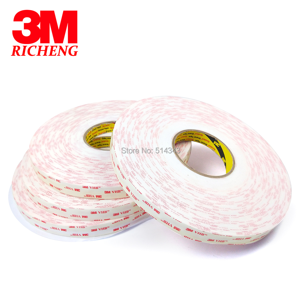 3M 4950 Double Sided VHB Acrylic Foam Tape self adhesive transparent holographic film 12MM*33M 1Roll/Lot 1piece 3m vhb 5952 heavy duty double sided adhesive acrylic foam tape black 150mmx100mmx1 1mm