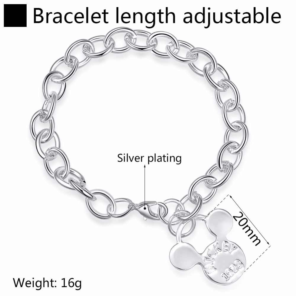 2e19ff9ab3a72 ERLUER Mickey Pendant Charm Bracelets For Women Girls Silver Plated Chain  Link Mouse Head Engrave Letter Jewelry Bracelet Gifts