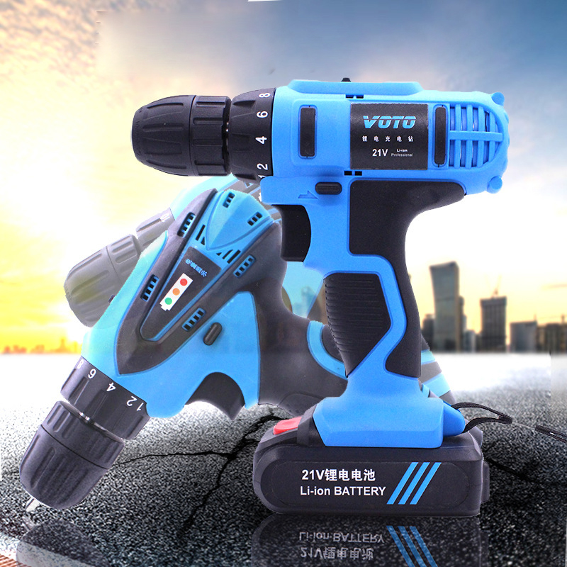 цена на Plastic Box Packing Electric Screwdriver Lithium Battery Rechargeable Multi-function Cordless Electric Drill Power Tools