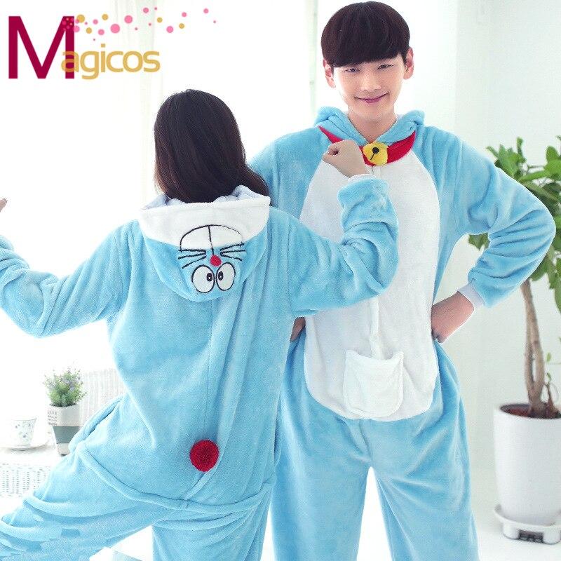 Adult Cartoon Animal Onesies Anime Doraemon Pajamas Cosplay Halloween Party Costume All In One Sleepwear Homewear for Men Women