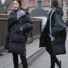 2016 осень зима женская мода куртки Шить цвета с длинным свободные хлеб одежда толстый зимний прилив Корейской версии пальто