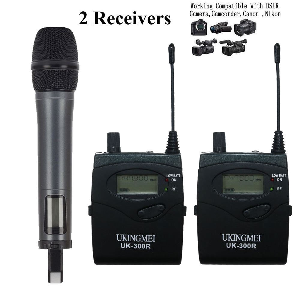 UHF Wireless Handheld Microphone Mic System for DSLR Camera Video DV Cannon Nikon with 2 Receivers image