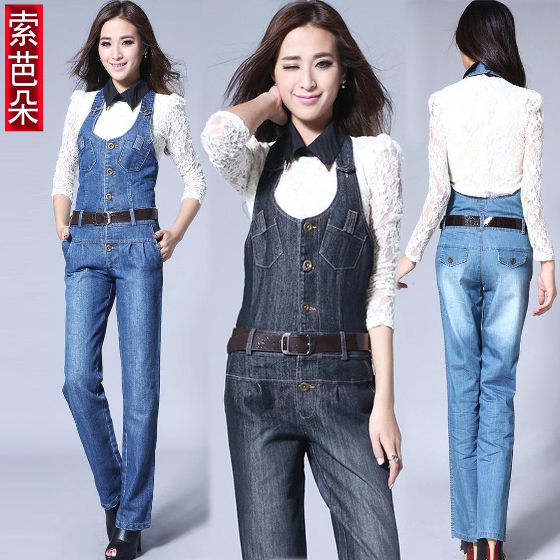 plus size s xxxl 2014 spring fashion slim casual denim bib