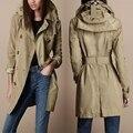 Осень зима новый женский бренд taffety с капюшоном плащ мода двубортный средней длины - длинные водонепроницаемый верхней одежды / S-XXL