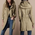 Autumn winter New Women's brand taffety with a hood trench coat fashion double breasted medium-long waterproof outerwear / S-XXL