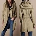 Outono inverno mulheres de marca taffety com capuz casaco dupla breasted médio longo outerwear impermeável / S-XXL