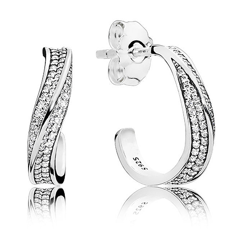 Authentic 925 Sterling Silver Earring Elegant Waves Earrings Studs With Crystal For Women Wedding Gift Fine Pandora Jewelry