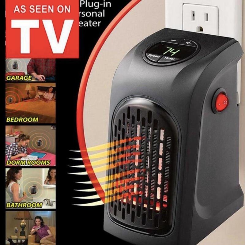 Dinding Listrik Pemanas Mini Portable Plug-In Ruang Pribadi Hangat untuk Pemanasan Dalam Ruangan Berkemah Tempat Adjustable Thermostat