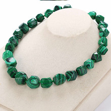 Natural Stone Malachite Agate Irregular Necklaces Pendants Women Men Reiki Green Obsidian Rainbow Eye Beads Ball Transfer Lucky(China)
