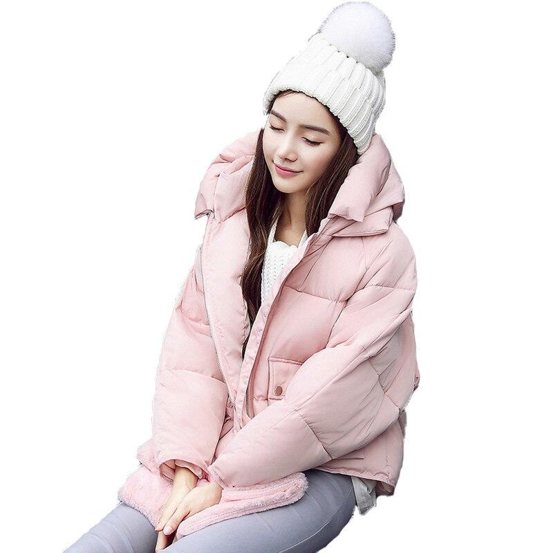 Rose 2018 Vestes Coton Hiver Hoodies St1217150 Chaud Parkas Mode De Femmes Causual Lâche Manteaux Rembourré Courtes Mignon Conception eED2IYW9H