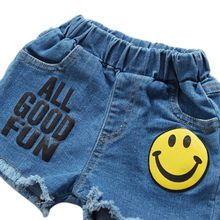 Newest Cool Short Jeans For Girls Cotton Smile Pattern Letter Print Shorts Summer Casual Party Beach Elastic Jeans(China)