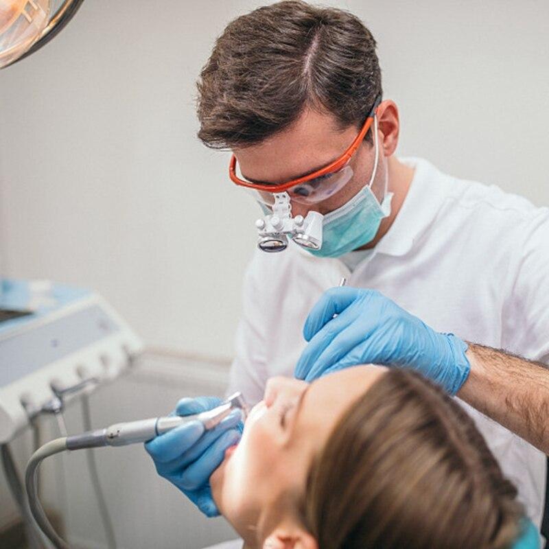 Lupas dentales, gafas con lentes de aumento de 3,5 X y 420 mm para cirugías, equipos dentales, lupas de cirugía para dentistas con lámpara LED de cabeza. - 6