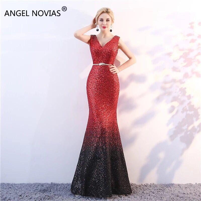 Ange NOVIAS longue sirène élégant Abendkleider paillettes sirène Sequin robe de soirée 2018 robe de bal Avondjurk