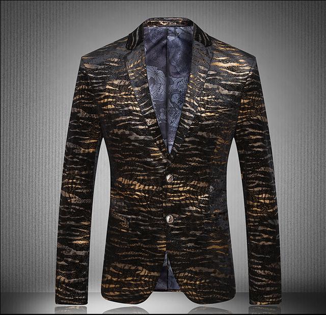 Nueva marca las importaciones surcoreanas diseñadores traje de terciopelo de algodón traje de dos botones vestido de leopardo marea hombres discotecas trajes del cantante