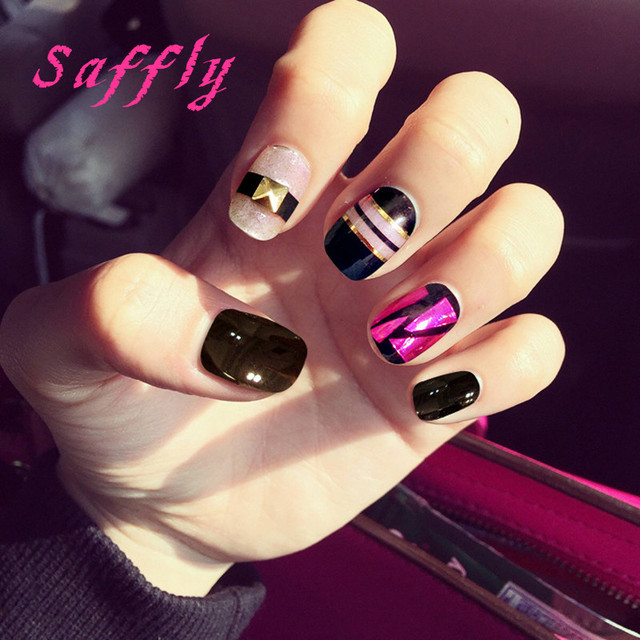 24Pcs Beauty short Fake Nails Full Cover European Simple Manicure ...
