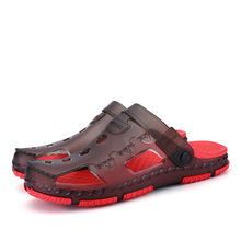 Male Summer Mules Sandals Cutout Hole Shoes, Summer Casual Slippers Men Shoes Beach,Rubber Slip-on Cross Style Men's Sandals