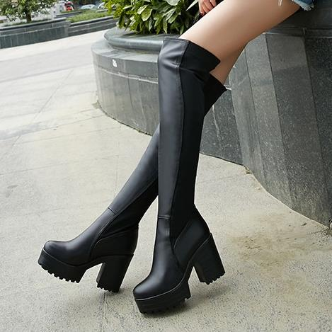 ФОТО Mm riskier big drum plus size over-the-knee thick heel boots small 33 elastic boots plus size 40 - 43 25pt free shipping