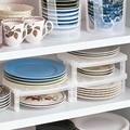 Kitchen organizer White Multifunction kitchen Shelf plastic Bowl Plate Storage Rack Organizers for Kitchen Storage