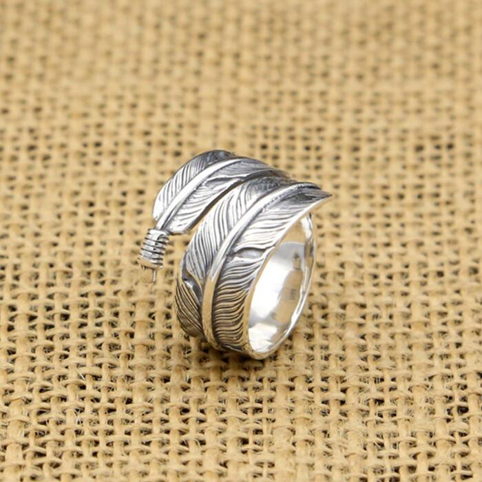 US $17 6 |Handmade Silver 925 Feather Rings Men Vintage Indian Style 100%  Pure Solid Antique Silver 925 Cool Persoanlity Mens Jewelry Gift-in Rings