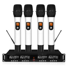 Professional UHF wireless microphone system four handheld lavalier family karaoke