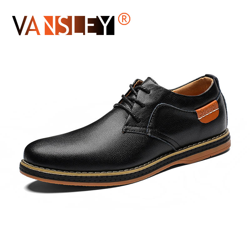 Comfortable Office Fashion Men's Shoes Casual Moccasins  Genuine Leather Flat Shoes Lace Up Oxford Work Shoes Men Dress Shoes