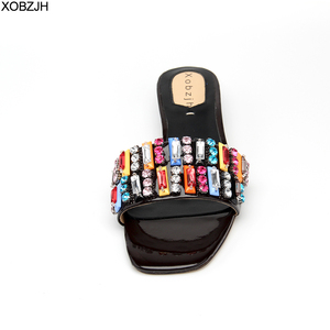 Image 4 - Summer Flat Sandals Women Shoes Luxury 2019 Brand Black Red Yellow Rhinestone designer Sandals Leather Slippers Shoes Woman