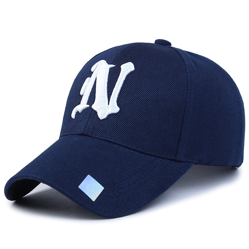 Piece baseball cap solid color leisure hats with n letter