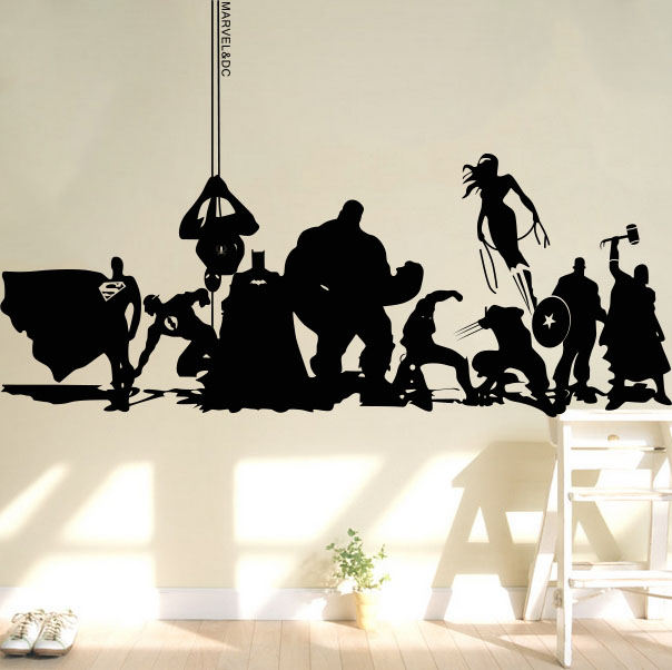 Creative DIY wall art home decoration Iron Man Avengers 2 & Hulk & Captain America & Boy bedroom living room wall stickers #T85