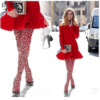 Women S Tights Leopard Print Pantyhose Pink Female Girl Tights 40D