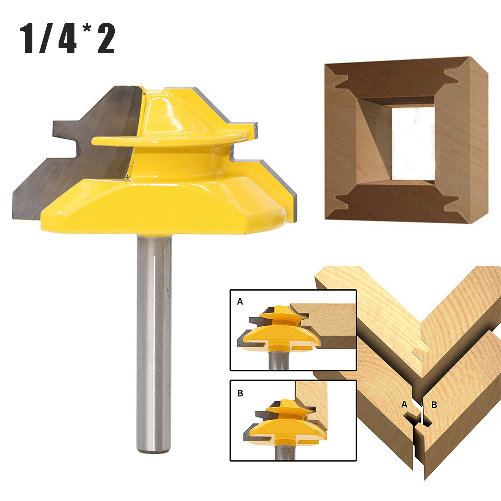 45 Degrees Woodworking Router Bit Cutter 1/4*2 Router Bits For Wood Cutting Tools 1pc router bit woodworking 45 degrees 1 2 2 milling cutter bearing trimming blades knife gong woodworking machine cutting tools