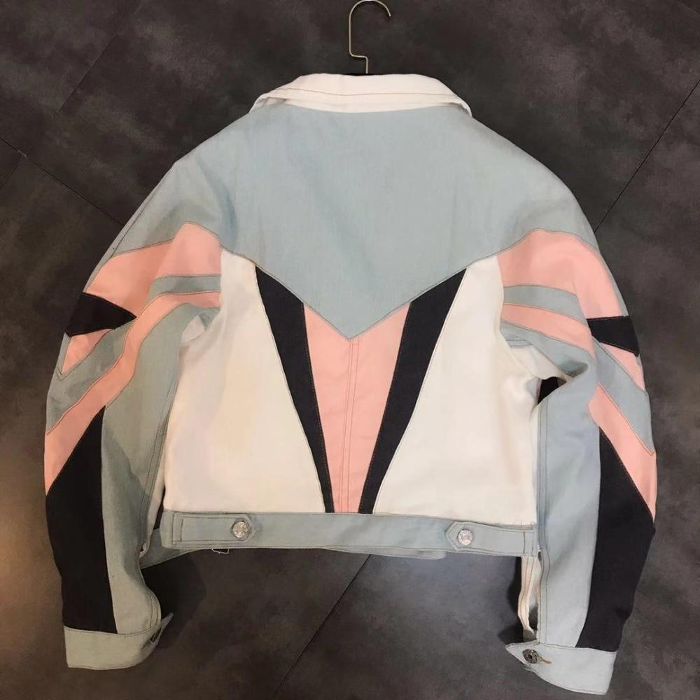 Contraste Veste Biker Mode Streetwear Printemps Femmes Couleurs Jean Jack Automne Multi Patchwork Manteau 2019 Whitney Élégant Denim Wang wIxqF0v