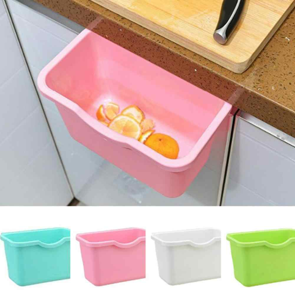 HOT1Pc Kitchen Cabinet Door Plastic Basket Hanging Trash Can Waste Bin Garbage Bowl Box Desktop Storage Trash Can Storage Holder