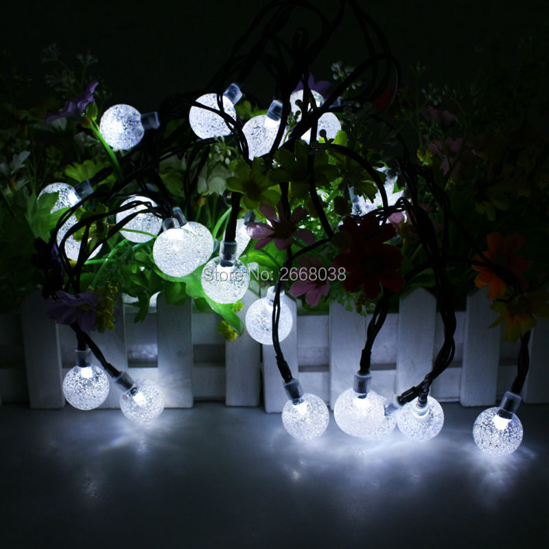 ФОТО 6M 30 LED Crystal Ball Solar Powered String Light holiday light Waterproof for Outdoor,Gardens,Wedding,Dancing,Christmas Party