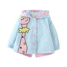 Осенне-весенние пальто для маленьких девочек; куртки; одежда для малышей; Пальто с героями мультфильмов; Верхняя одежда в горошек с капюшоном для детей; пальто