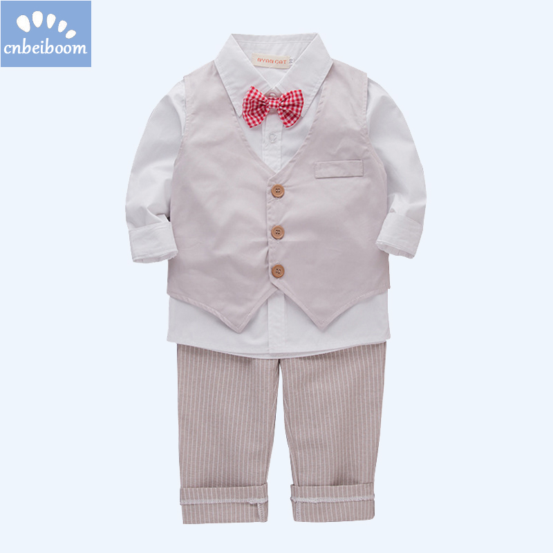 Kids 1-6 Y Baby boys clothes gentlemen bow tie white shirt+ vest+pants 3PCS set wedding party birthday children costume clothing