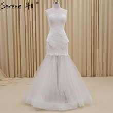 White Fashion Simple Sexy Mermaid Wedding Dresses Sleeveless Lace Up Bridal Gown Robe De Mariee 2017 Real Photo