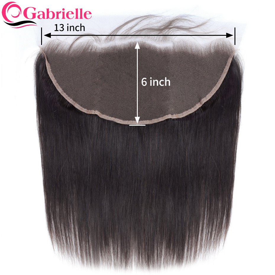 Gabrielle Brazilian Remy Hair Straight 13x6 Frontal With Baby Hair Ear To Ear Lace Frontal Closure 100% Human Hair Extensions